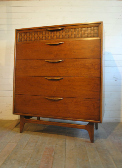Beautiful Basketweave Top Drawer. Made In 1959. Dimensions Are 38u2033W X 19u2033D  X 45.75u2033 H. Please Contact Me With Any Questions.