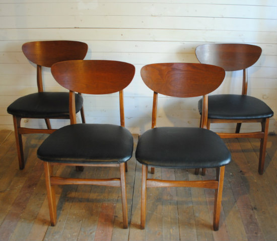 amazing set of 4 walnut midcentury dining chairs new black vinyl upholstery please contact me with any questions