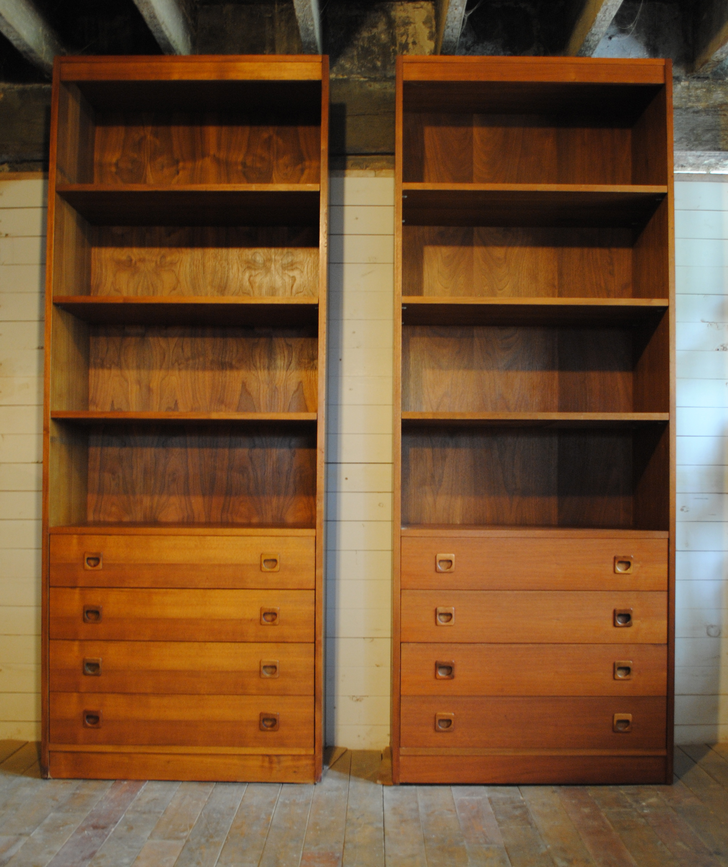 Danish Modern Teak Bookcase / Hutch Pair