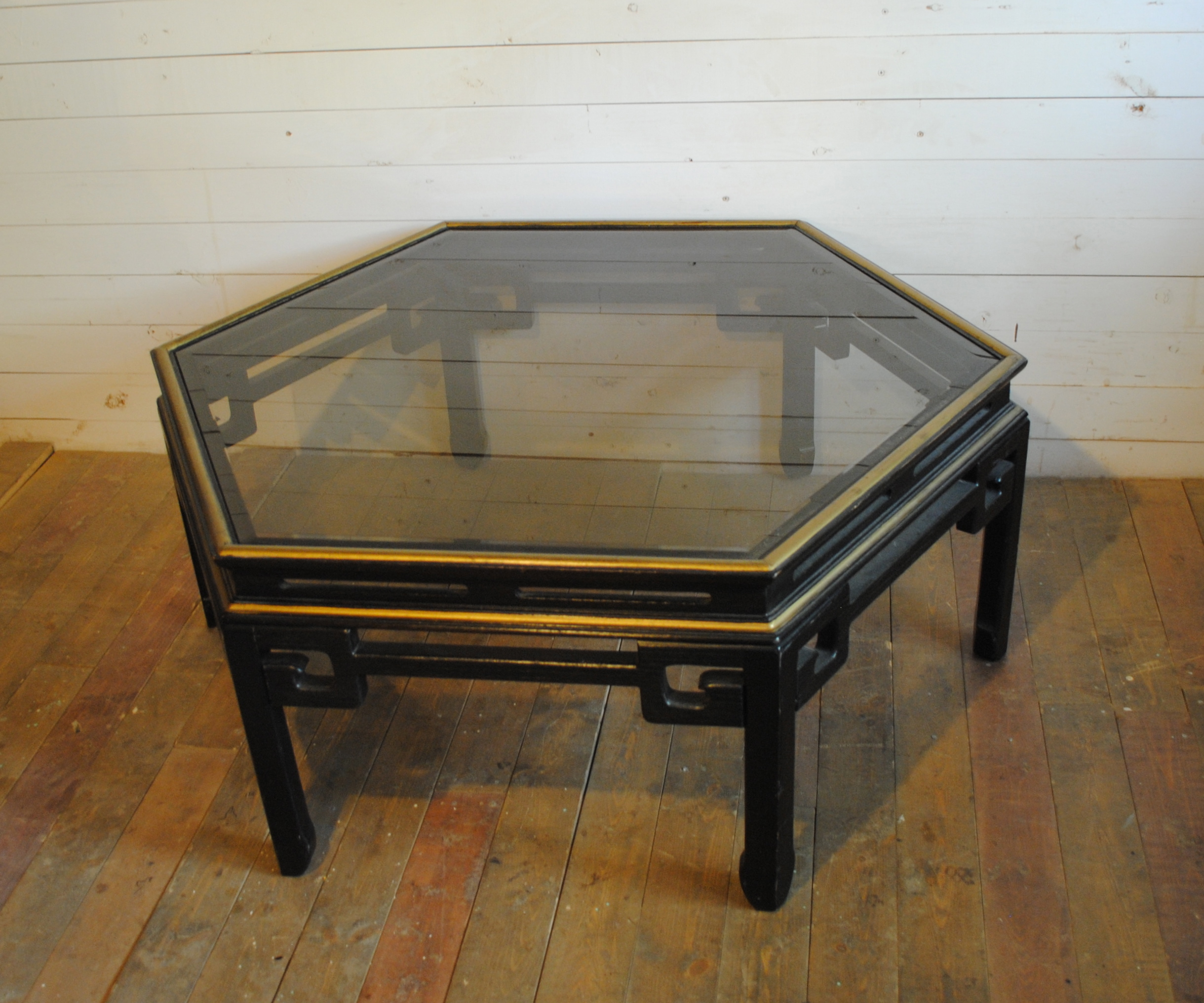 Coffee Table Phylum Furniture - Glass coffee table with gold trim