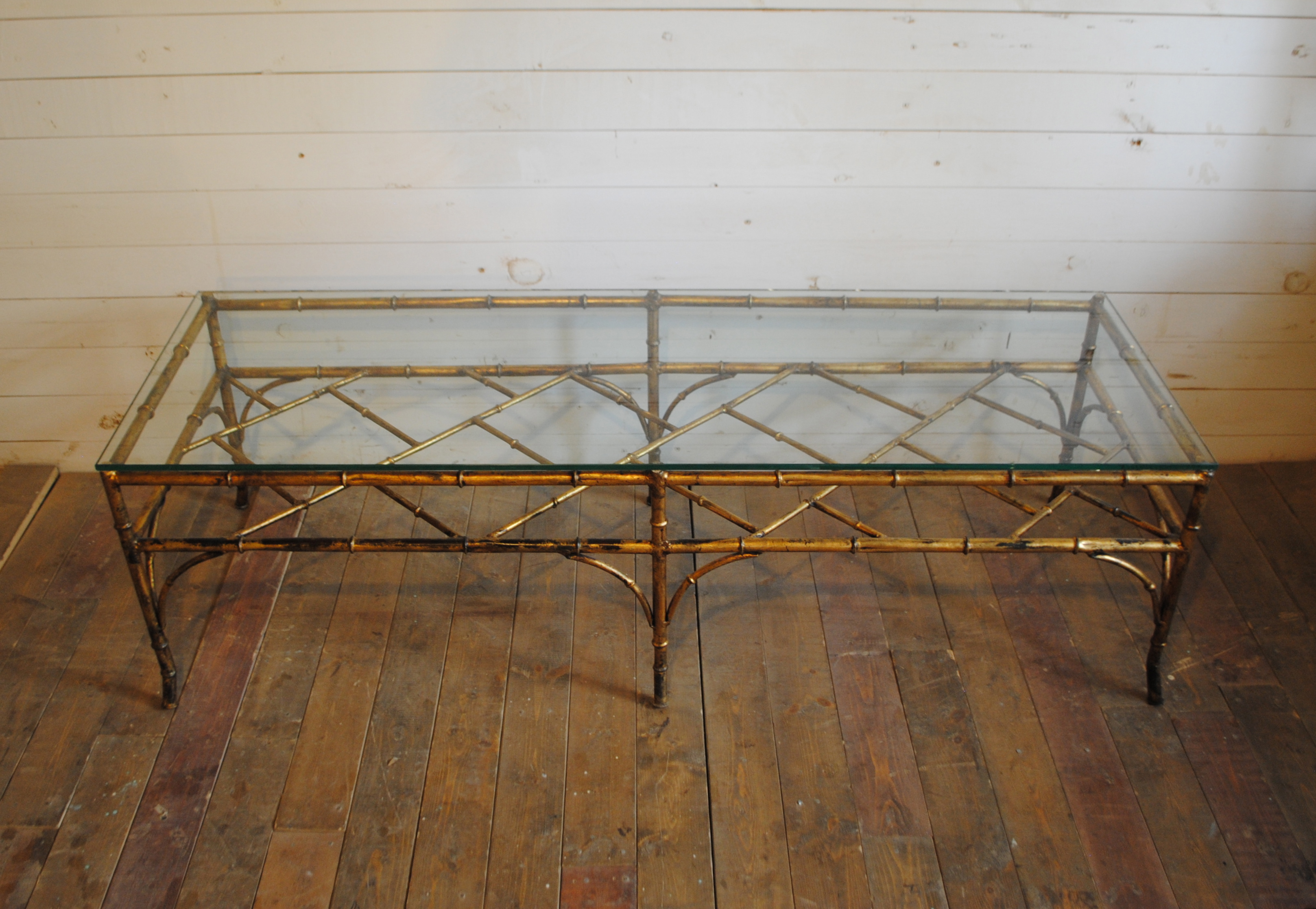 Gorgeous Hollywood Regency Gilt Metal Faux Bamboo Coffee Table. Dimensions  Are 54u2033L X 18u2033W X 15.75u2033H. Please Contact Me With Any Questions.