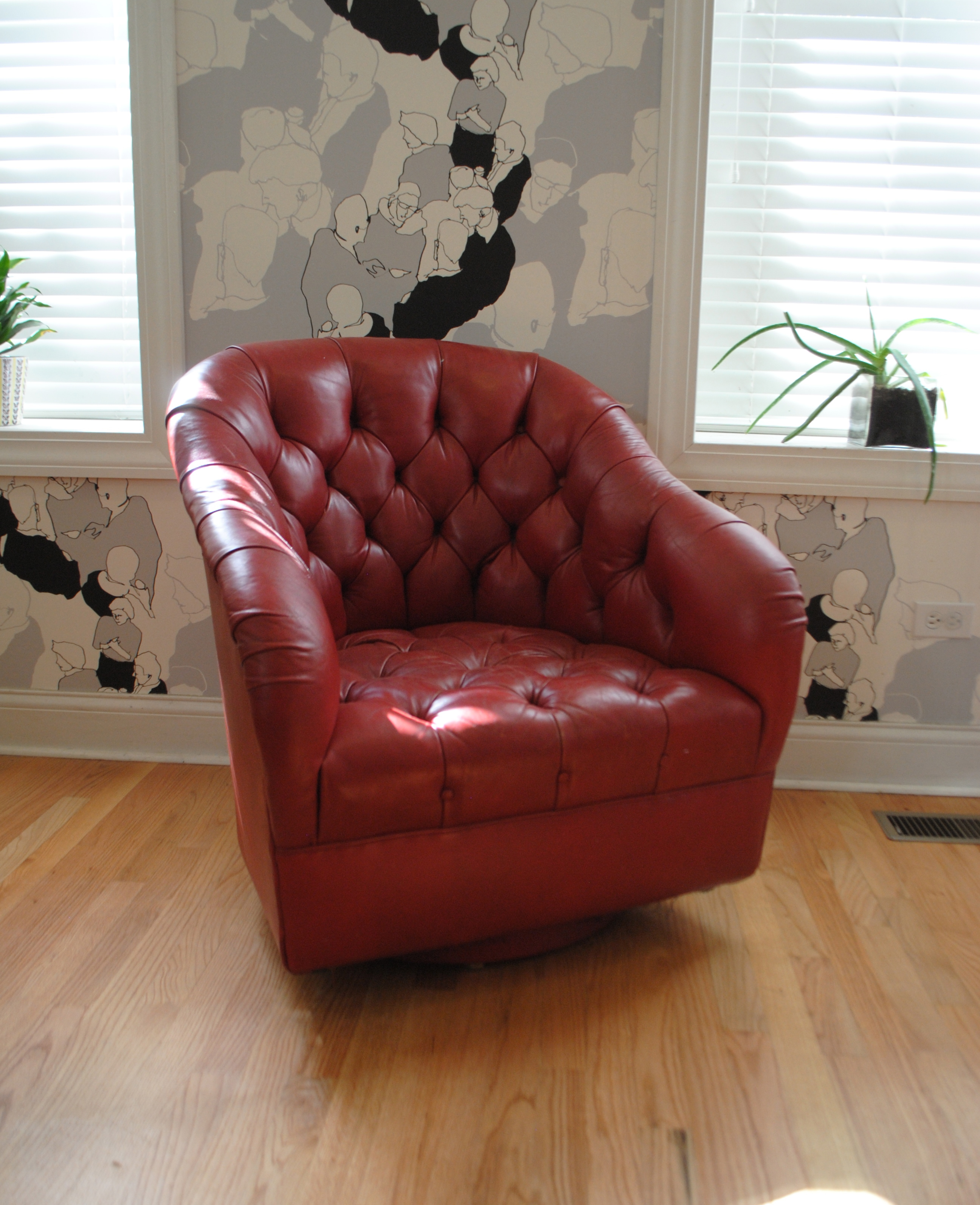 Ward Bennett Red Leather Club Chair