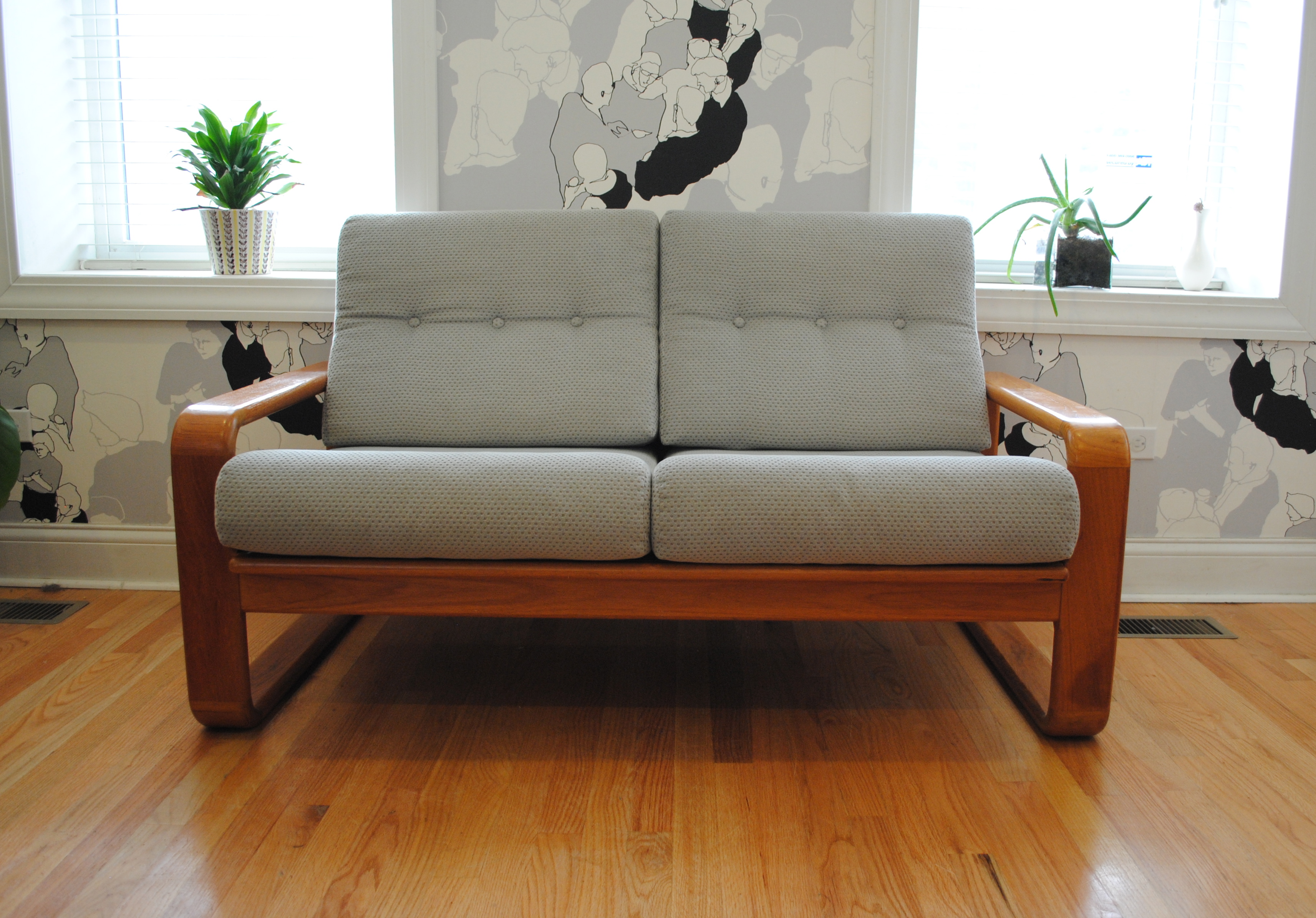 Danish Modern Teak Sofa Loveseat