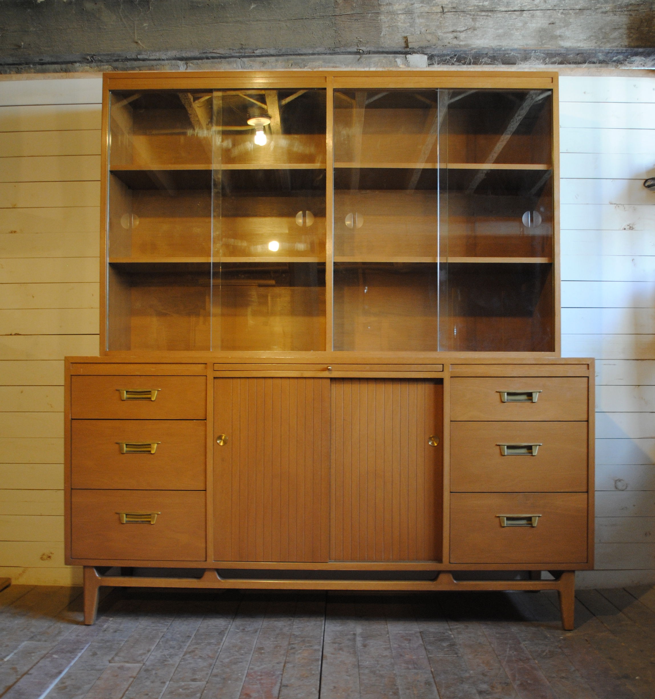 Beautiful Mid Century Credenza And Hutch Has Sliding Glass Doors All Shelving Is Adjule Or Can Be Removed Dimensions Are 60 W X 19 D 31 H