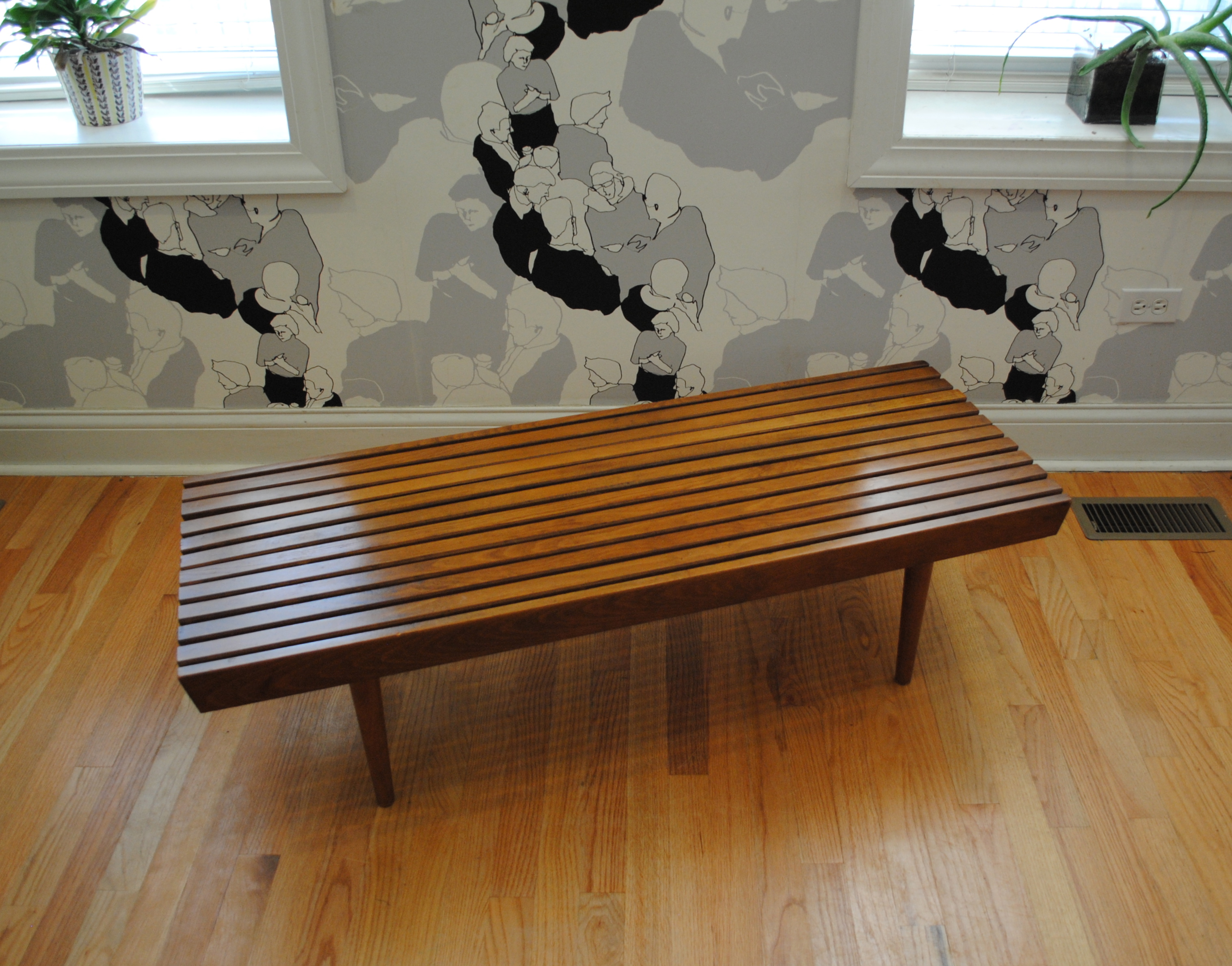 Mid century modern slat bench phylum furniture mid century modern slat bench coffee table dimensions are 48l x 18w x 1275h please contact me with any questions geotapseo Gallery