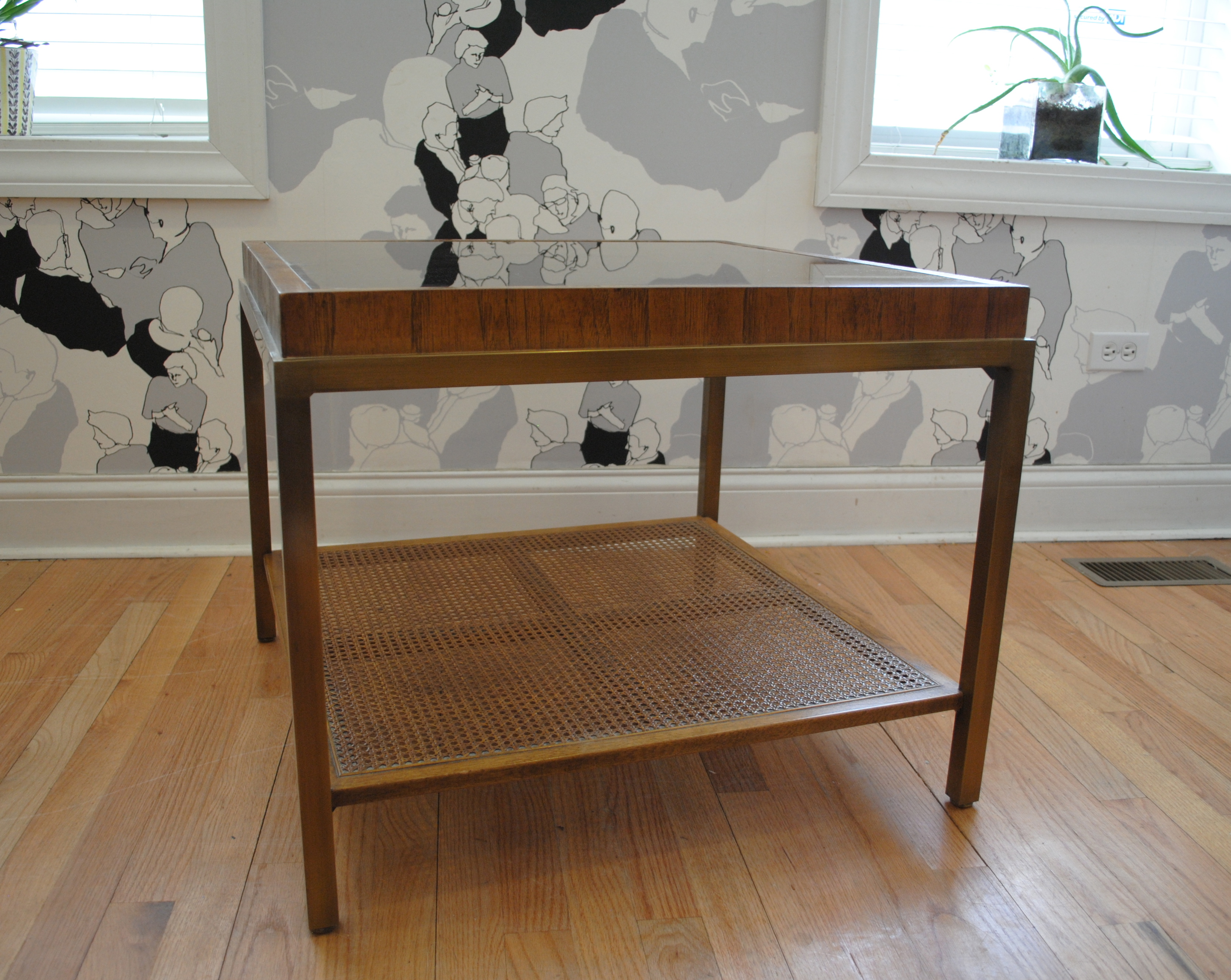 Wood and glass end table - Vintage Brass And Wood End Table With Smoked Glass Top And Cane Lower Shelf By Drexel Dimensions Are 26 W X 26 L X 21 H Please Contact Me With Any