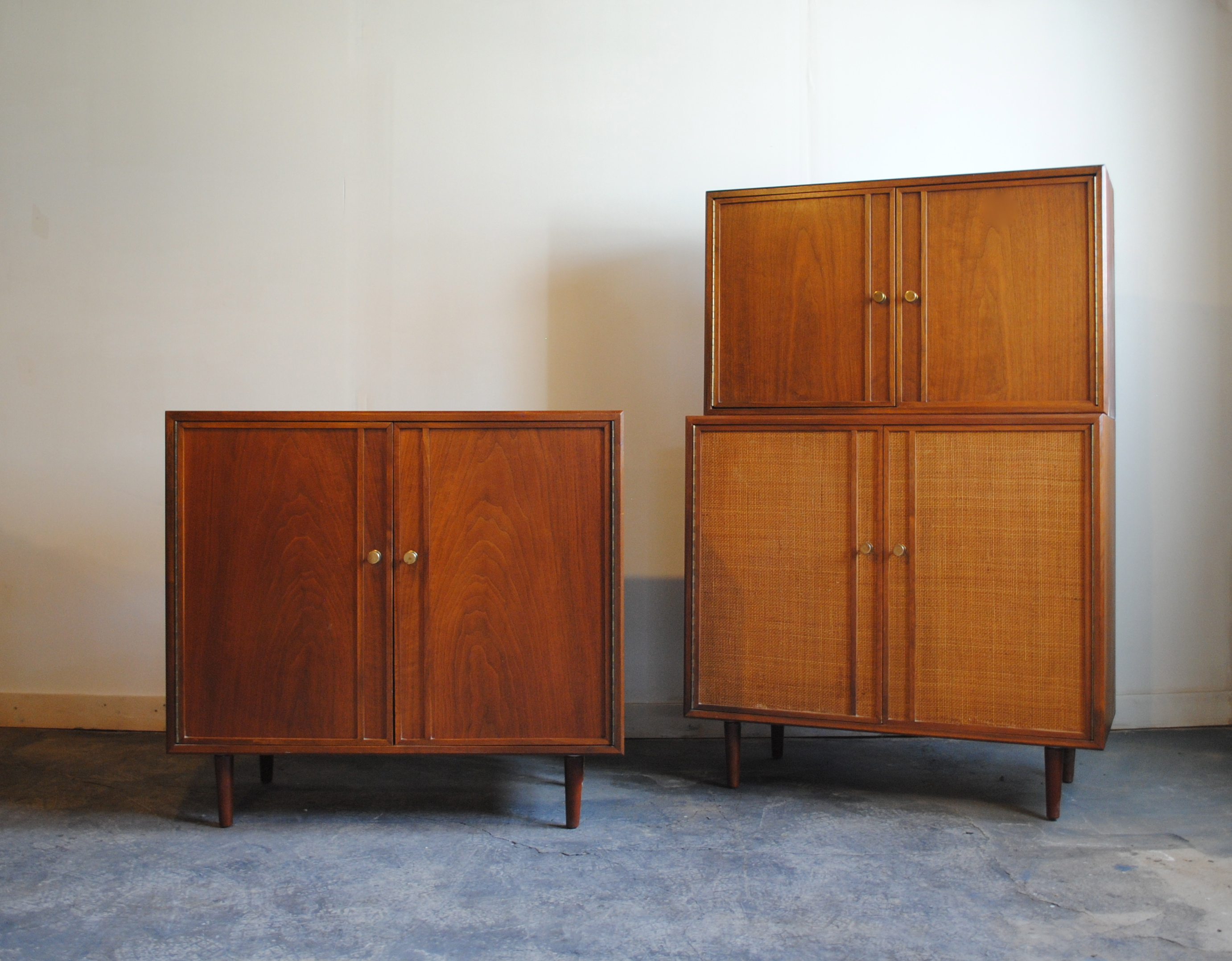 Mid Century Modern Walnut Cabinets. One With Walnut Doors And One With Cane  Doors. Smaller Cabinet Can Be Placed On Top Of Either.