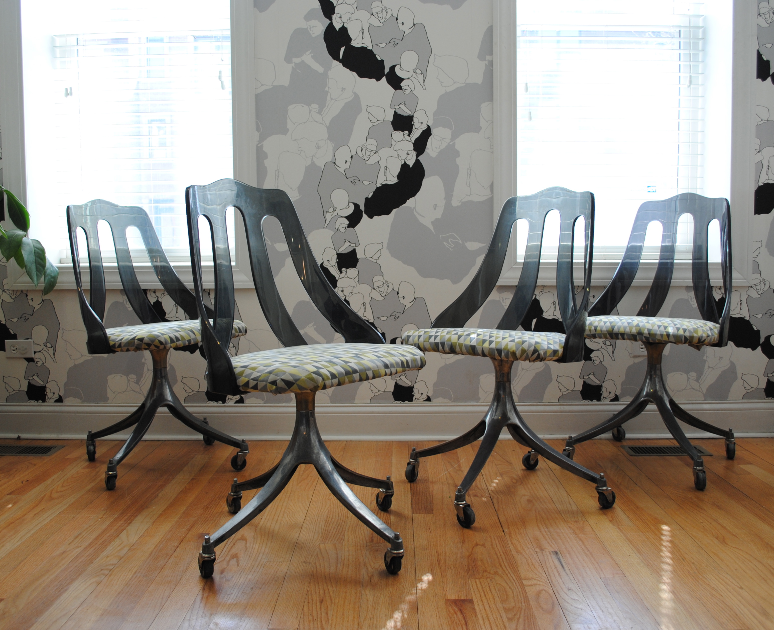 set of four midcentury smokey lucite and steel dining chairs by howell please contact me with any questions