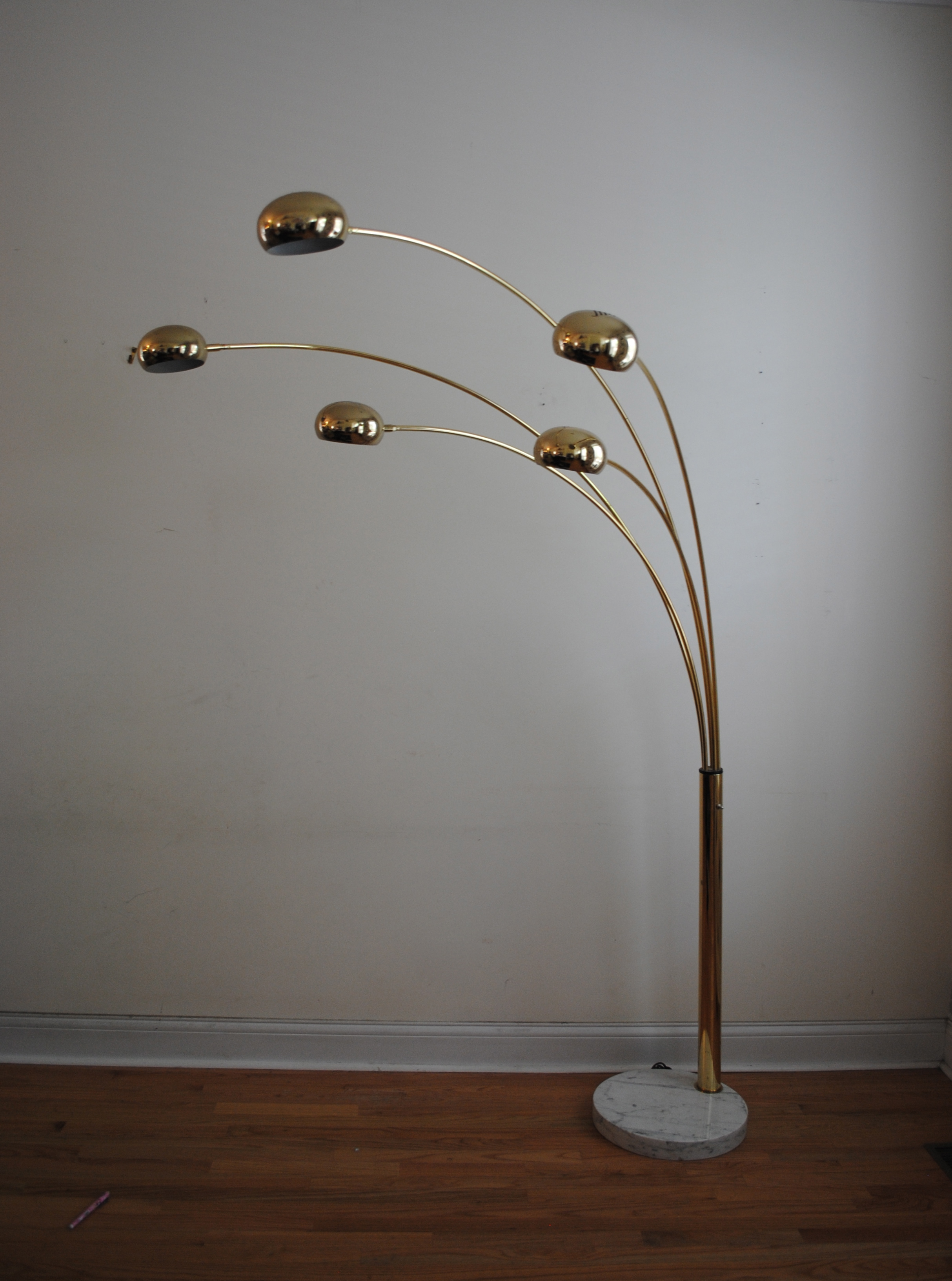 vintage brass five arm arc floor lamp italian marble base 80 high. Black Bedroom Furniture Sets. Home Design Ideas