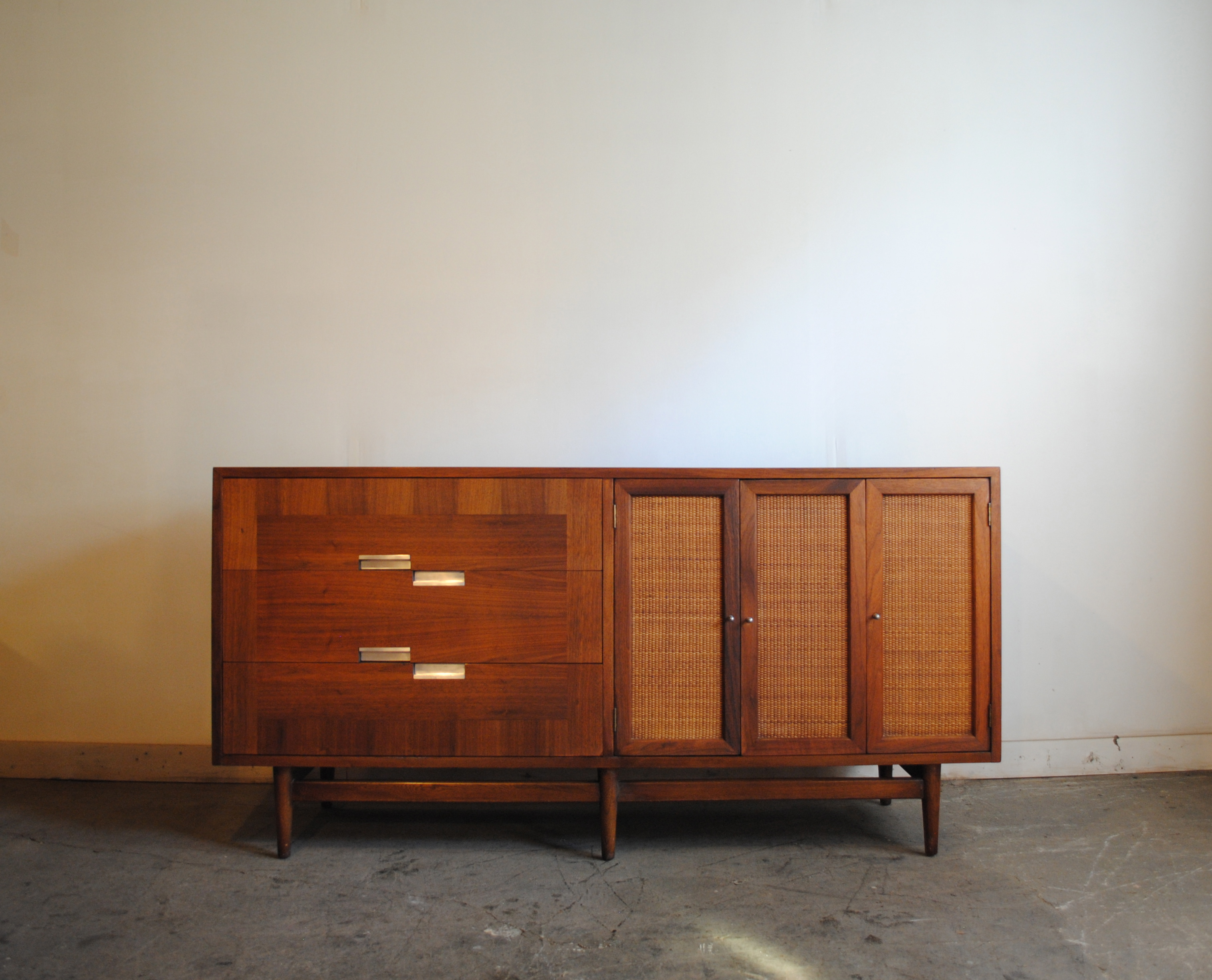 midcentury modern walnut credenza by american of dimensions are 62u2033w x 185u2033d x 3125u2033h please contact me with any questions - Modern Credenza