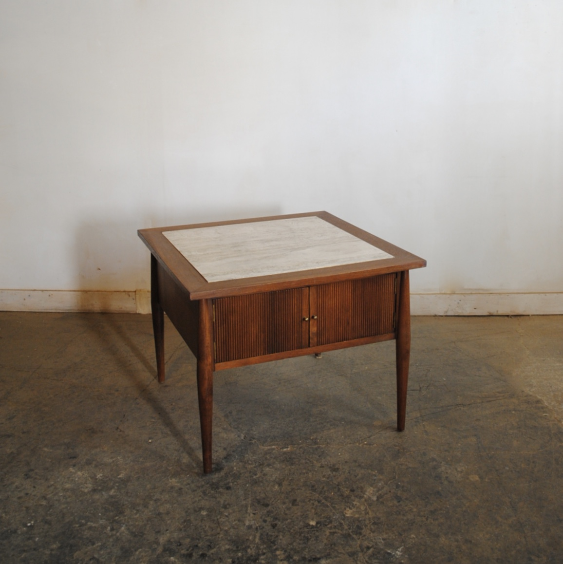 Mid Century Modern Walnut End Table With Italian Travertine Top. Dimensions  Are 26u2033 W X 26u2033 D X 20.5u2033 H. Please Contact Me With Any Questions.