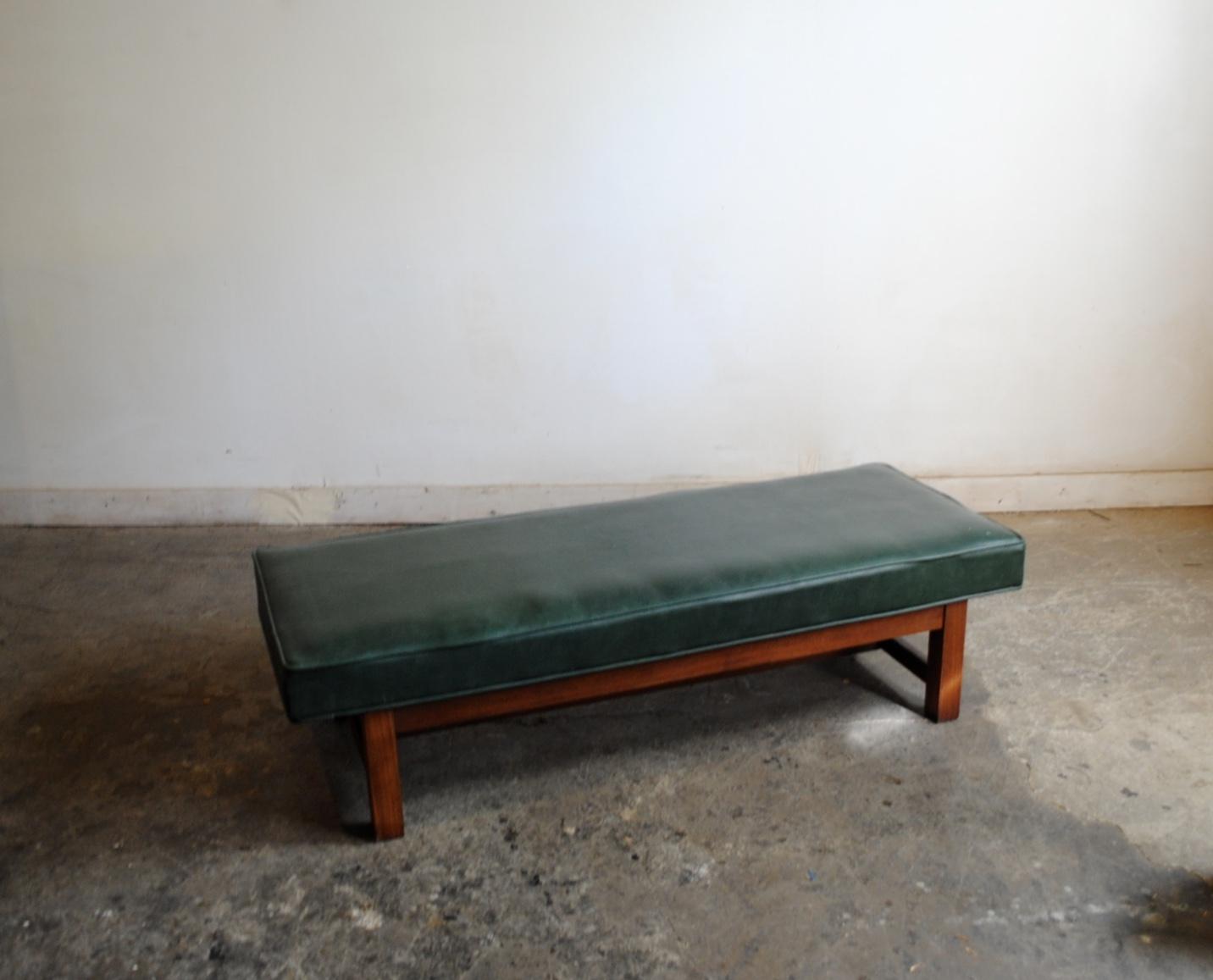 midcentury modern bench u2013 solid walnut base with dark green naugahyde cushion dimensions are 485u2033l x 185u2033w x 125u2033h please contact me with any
